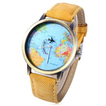 Unisex Watch Quartz Wristwatch World Map Leather Band for Women Men - YELLOW YELLOW