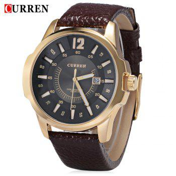 CURREN 8123 Quartz Watch Date Leather Band Analog Wristwatch for Men