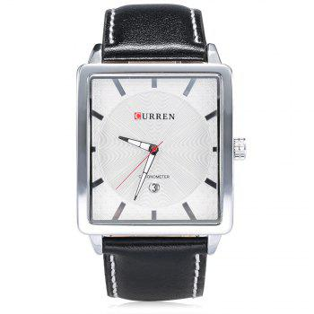 CURREN 8117 Men Quartz Watch Square Dial Wristwatch Date Display Leather Band - WHITE