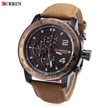 CURREN 8190 Men Quartz Watch Leather Strap 30m Water Resistance