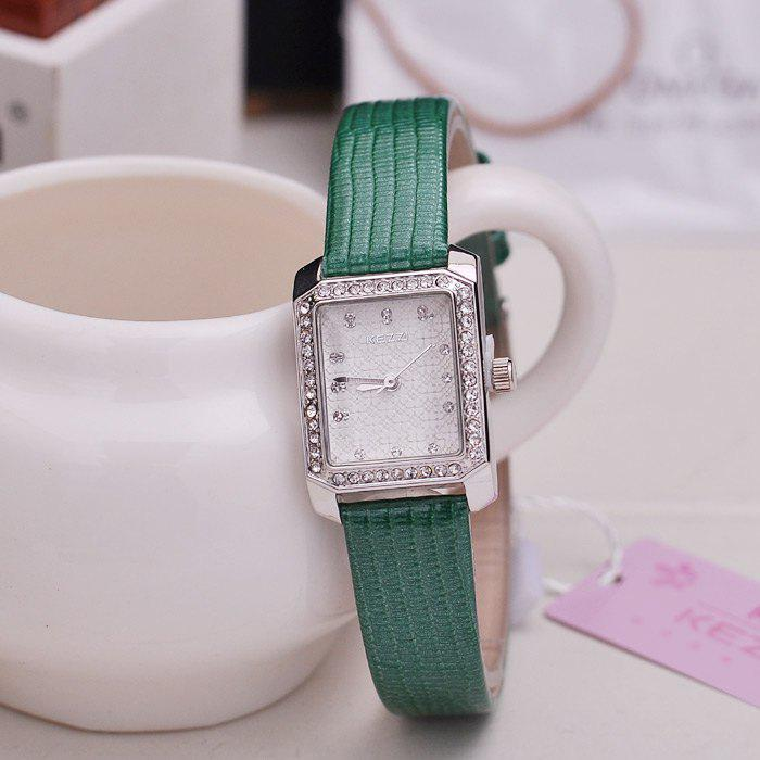 KEZZI Quartz Women Watch Diamond Bezel Flower Pattern Face Octagon Dial PU Band - GREEN