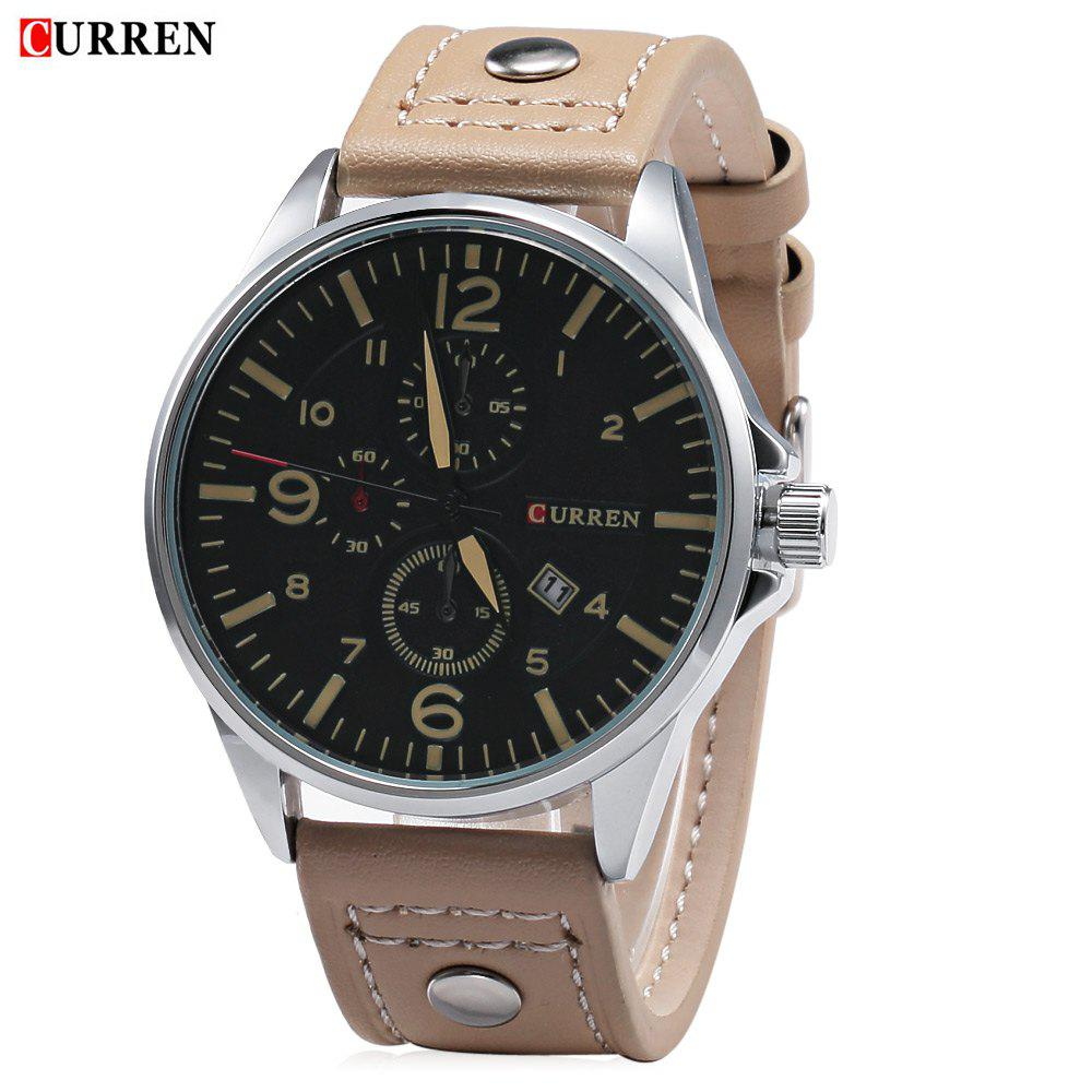 CURREN 8164 Men Watch Date Leather Band Quartz Wristwatch Water Resistance - YELLOW