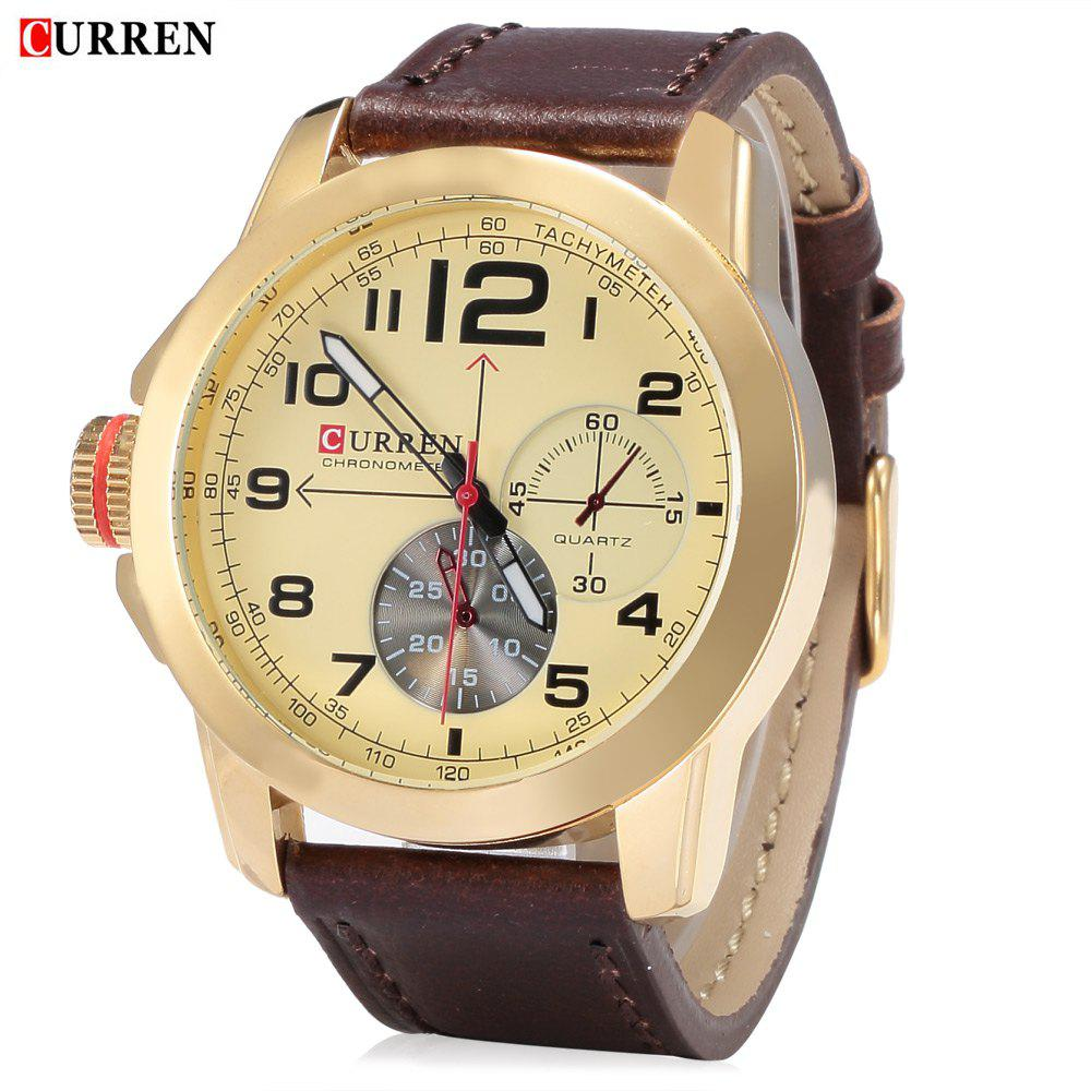 CURREN 8182B Men Quartz Watch Military Wristwatch Date Chronograph Leather Strap - 2