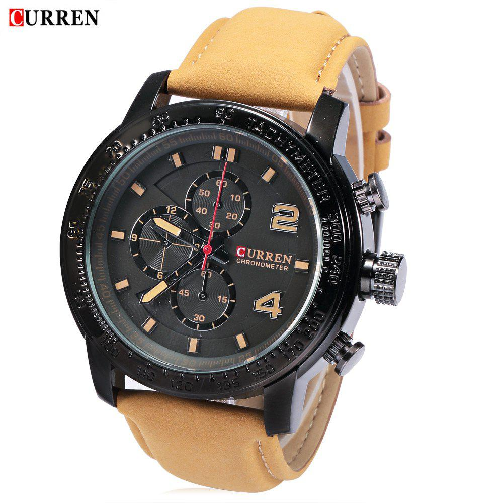 CURREN 8190 Men Quartz Watch Leather Strap 30m Water Resistance - BLACK