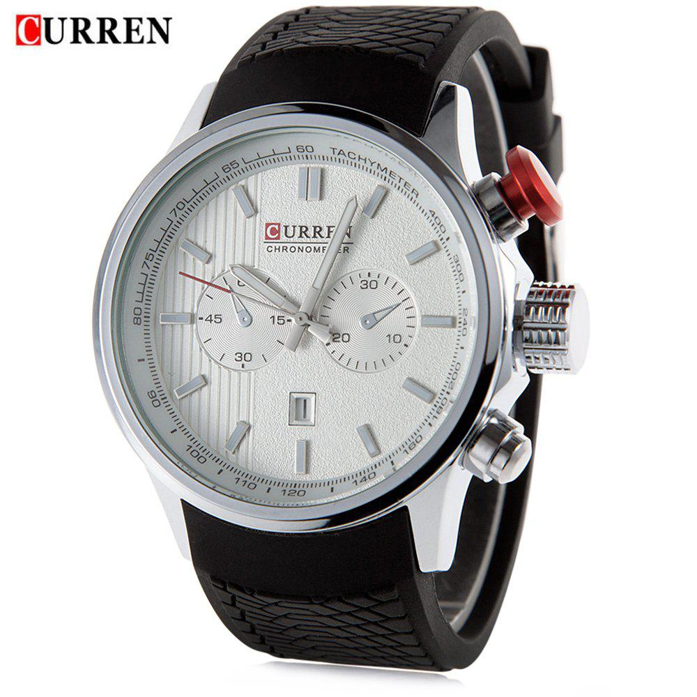 CURREN 8175 Men Quartz Watch Silicone Band Wristwatch Date Luminous Pointers skone 5051 luminous pointers quartz watch men rotatable bezel wristwatch