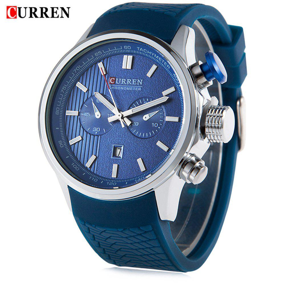 CURREN 8175 Men Quartz Watch Silicone Band Wristwatch Date Luminous Pointers - BLUE