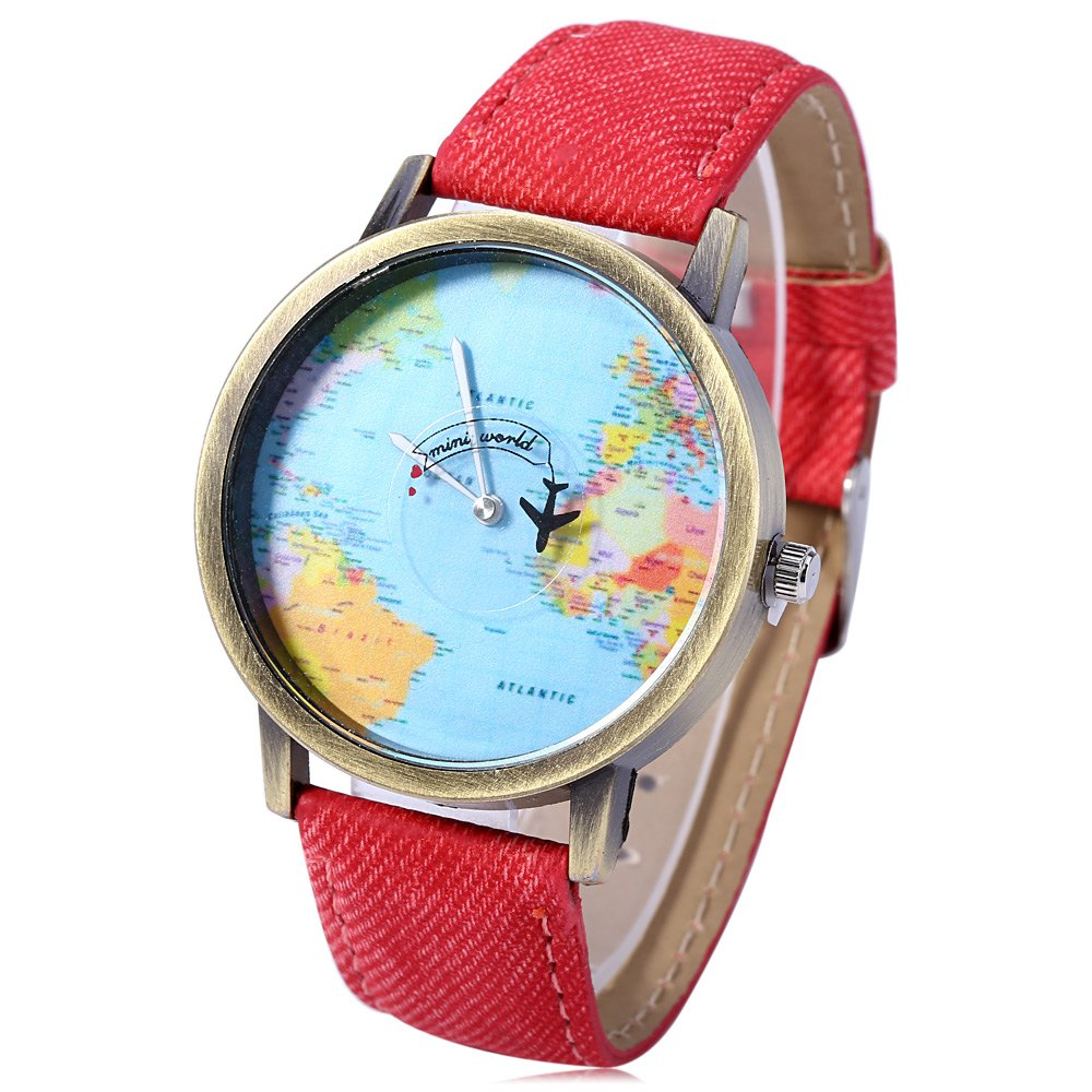 Unisex Watch Quartz Wristwatch World Map Leather Band for Women Men - RED