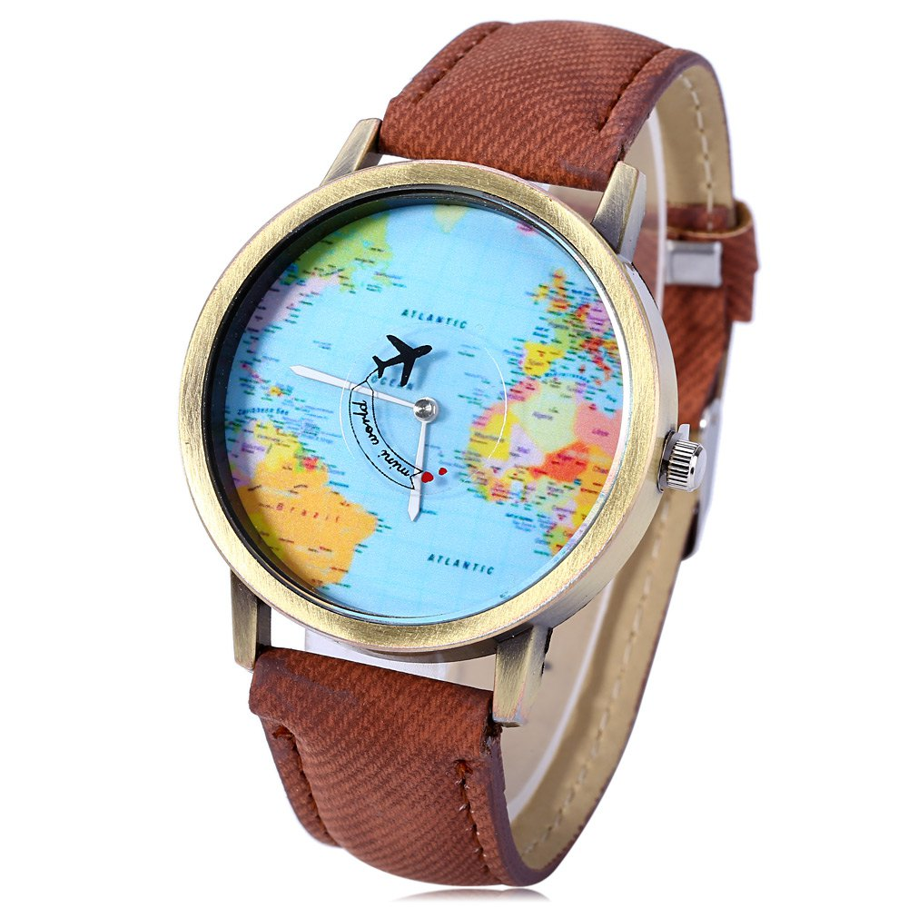 Unisex Watch Quartz Wristwatch World Map Leather Band for Women Men - COFFEE