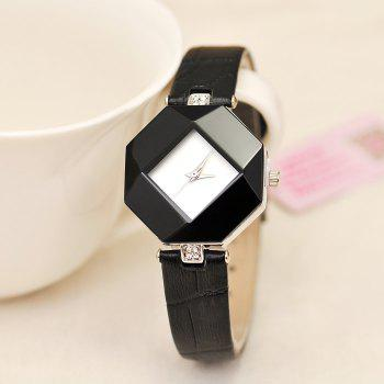 KEZZI Diamond-shaped Dial Japan Movt Quartz Women Watch with PU Band