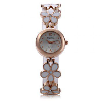 Crystal Stainless Steel Watch Women Quartz Wristwatch Pentalobe Bracelet -  WHITE