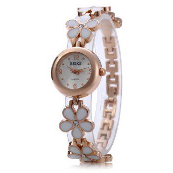 Crystal Stainless Steel Watch Women Quartz Wristwatch Pentalobe Bracelet - WHITE WHITE
