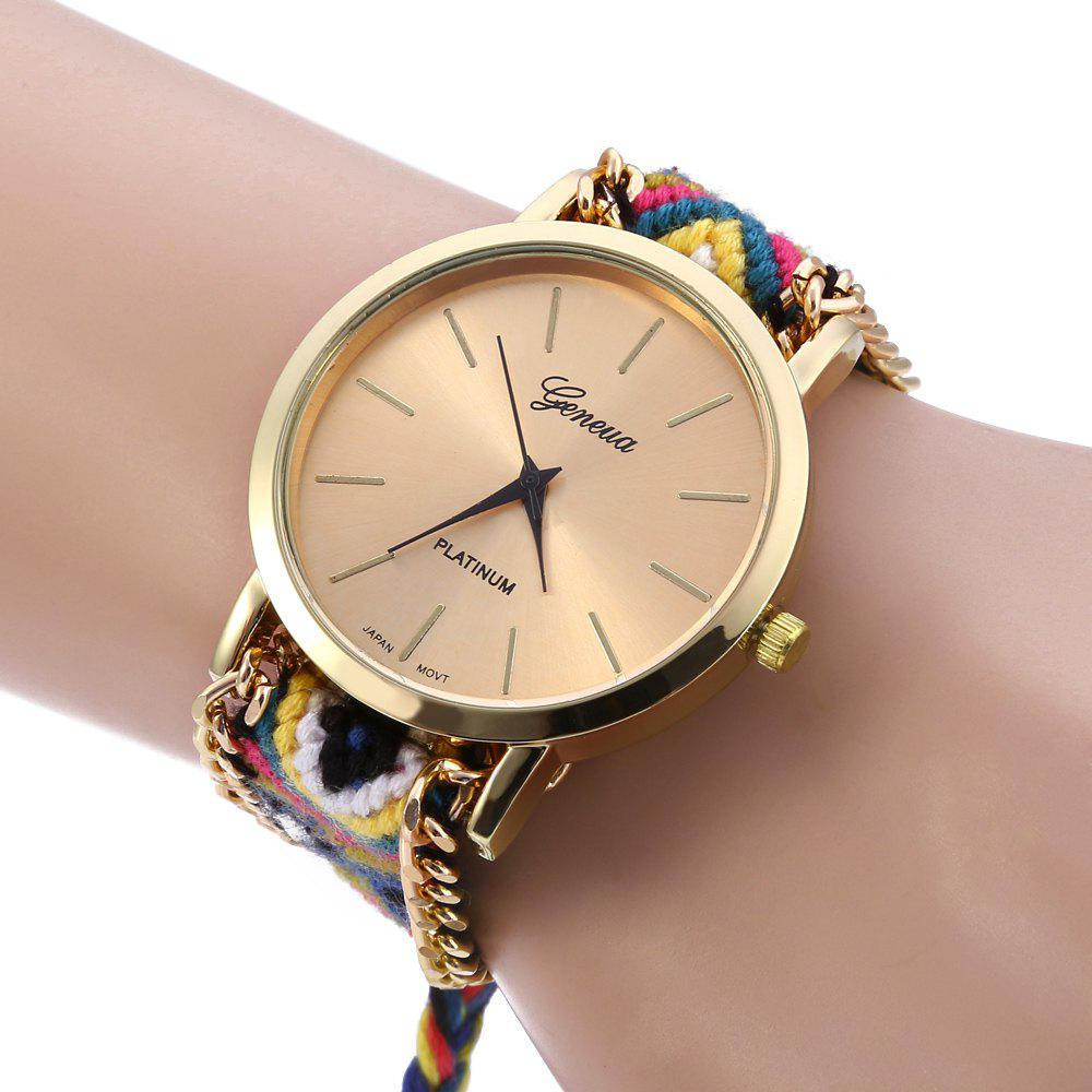 Geneva Women Weave Fabric Multicolor Band Wrist Watch - COLORFUL
