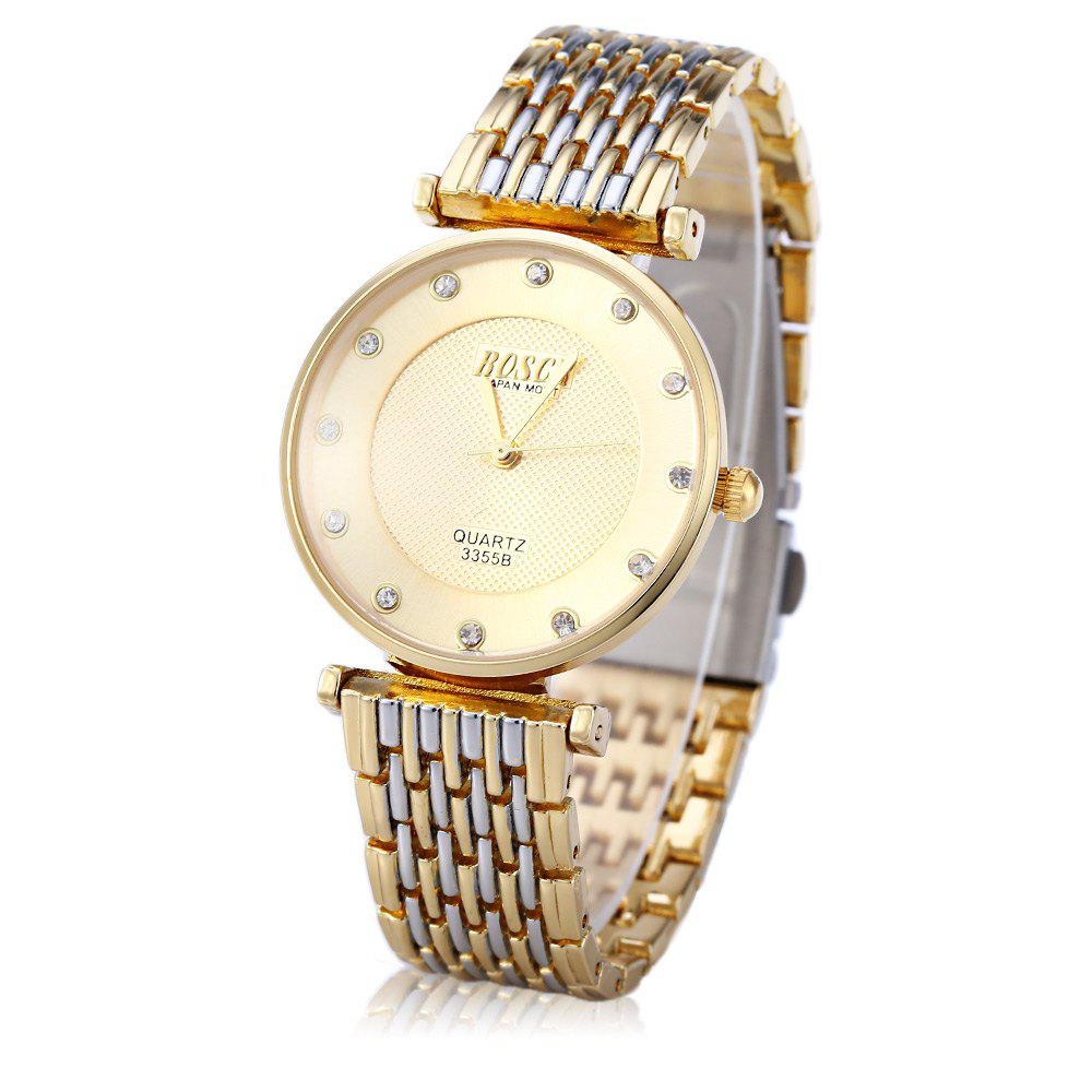 BOSCK 3355B Male Quartz Watch Diamond Round Dial Stainless Steel Band - GOLDEN