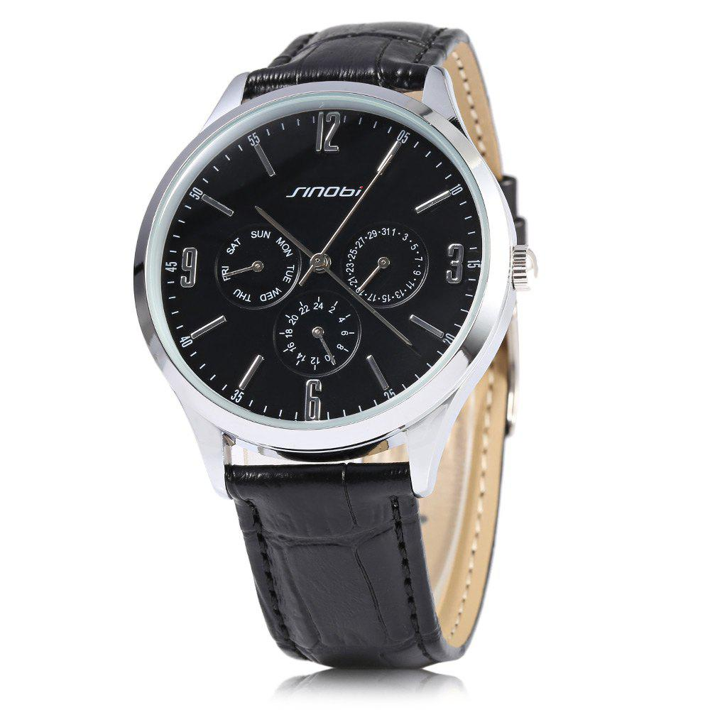 Sinobi 9546 Casual Fashion Ultra Slim Men Japan Quartz Watch Leather Strap Date Function - BLACK