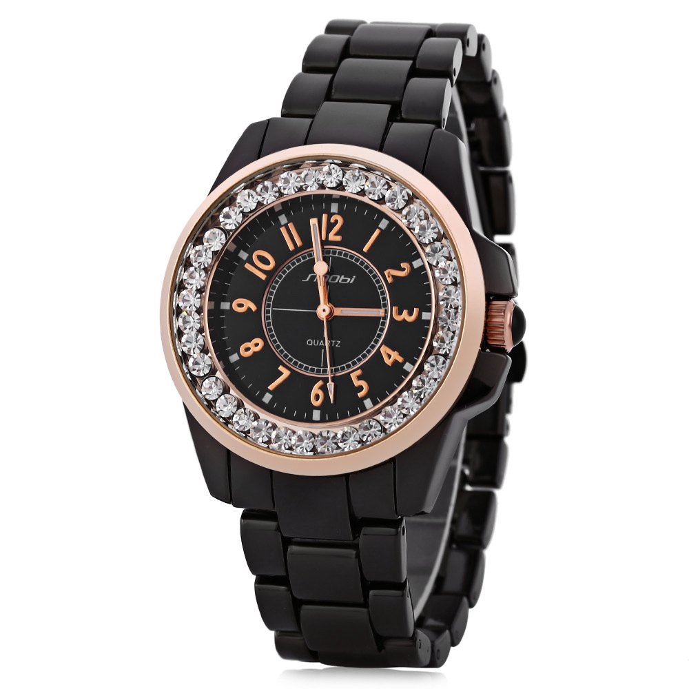 Sinobi 9390 Fashionable Male Ceramic Diamond Quartz Watch Round Dial Stainless Steel Strap - BLACK / GOLD