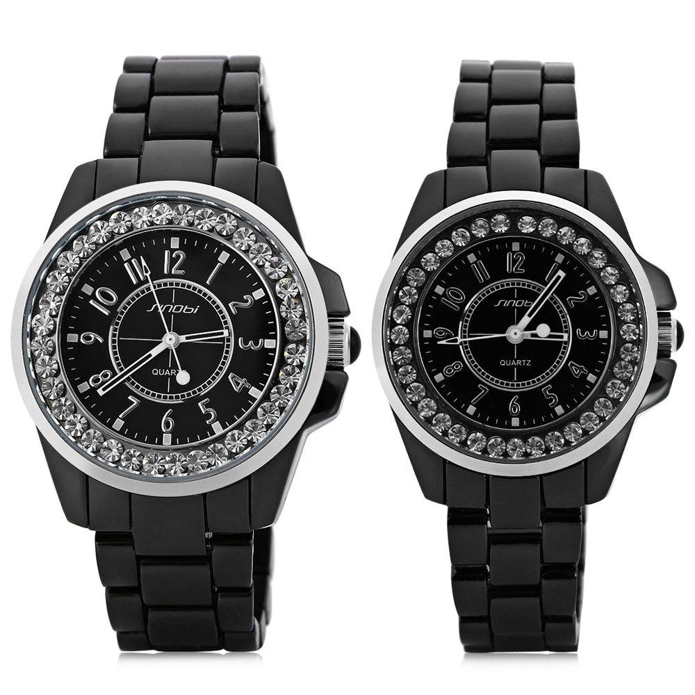 Sinobi 9390 Fashionable Couple Ceramic Diamond Quartz Watch Round Dial Stainless Steel Strap - BLACK / SILVER