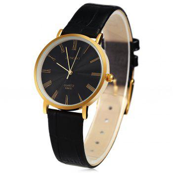 Longbo 8860D Women Ultrathin Leather Quartz Watch Roman Numeral Scale Golden Case