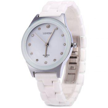Longbo 8631 Men Ceramic Rhinestone Quartz Wrist Watch