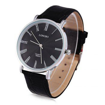 Longbo 8860D Men Ultrathin Leather Quartz Watch Roman Numeral Scale Silver Case