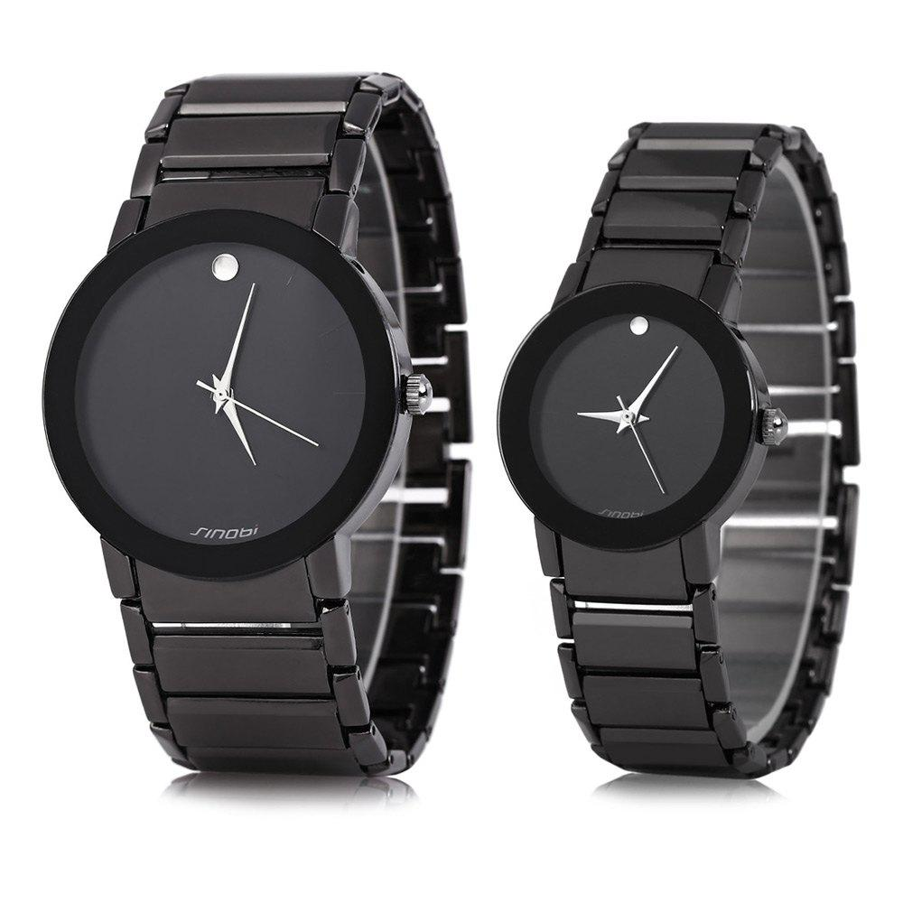 Sinobi 9106 Water Resistant Japan Vintage Couple Quartz Watch Military Army Stainless Steel Band - BALCK BLACK