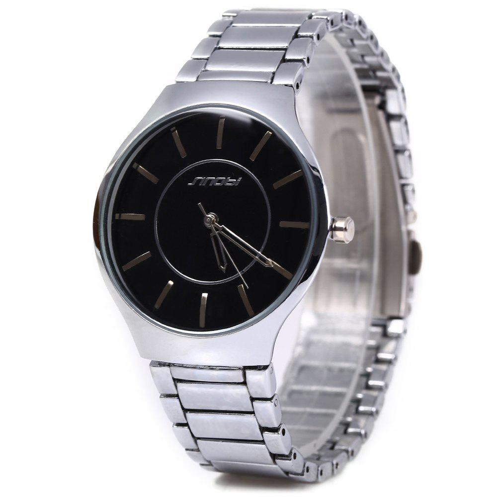 Sinobi 9442 Cool and Fashionable JAPAN Round Dial Quartz Watch Stainless Steel Strap for Male - BLACK / SILVER