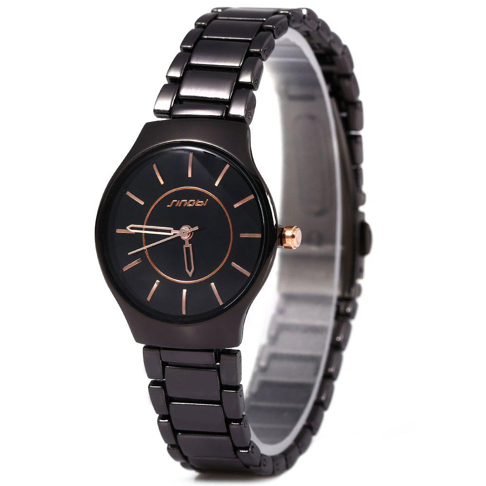 Sinobi 9442 Cool and Fashionable JAPAN Round Dial Quartz Watch Stainless Steel Strap for Female - BLACK