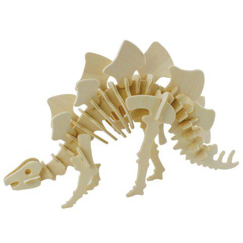 Robotime 3D Puzzle Dinosaur Style Wooden Educational Toy for Kids - BEIGE STEGOSAURUS
