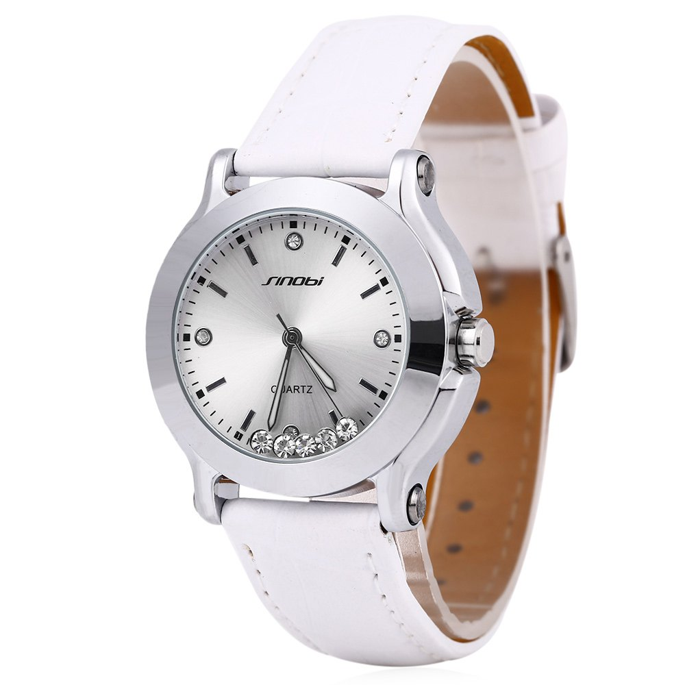 Sinobi 9276 Female Fashionable Crystal Quartz Watch Leather Strap Water Resistance - WHITE