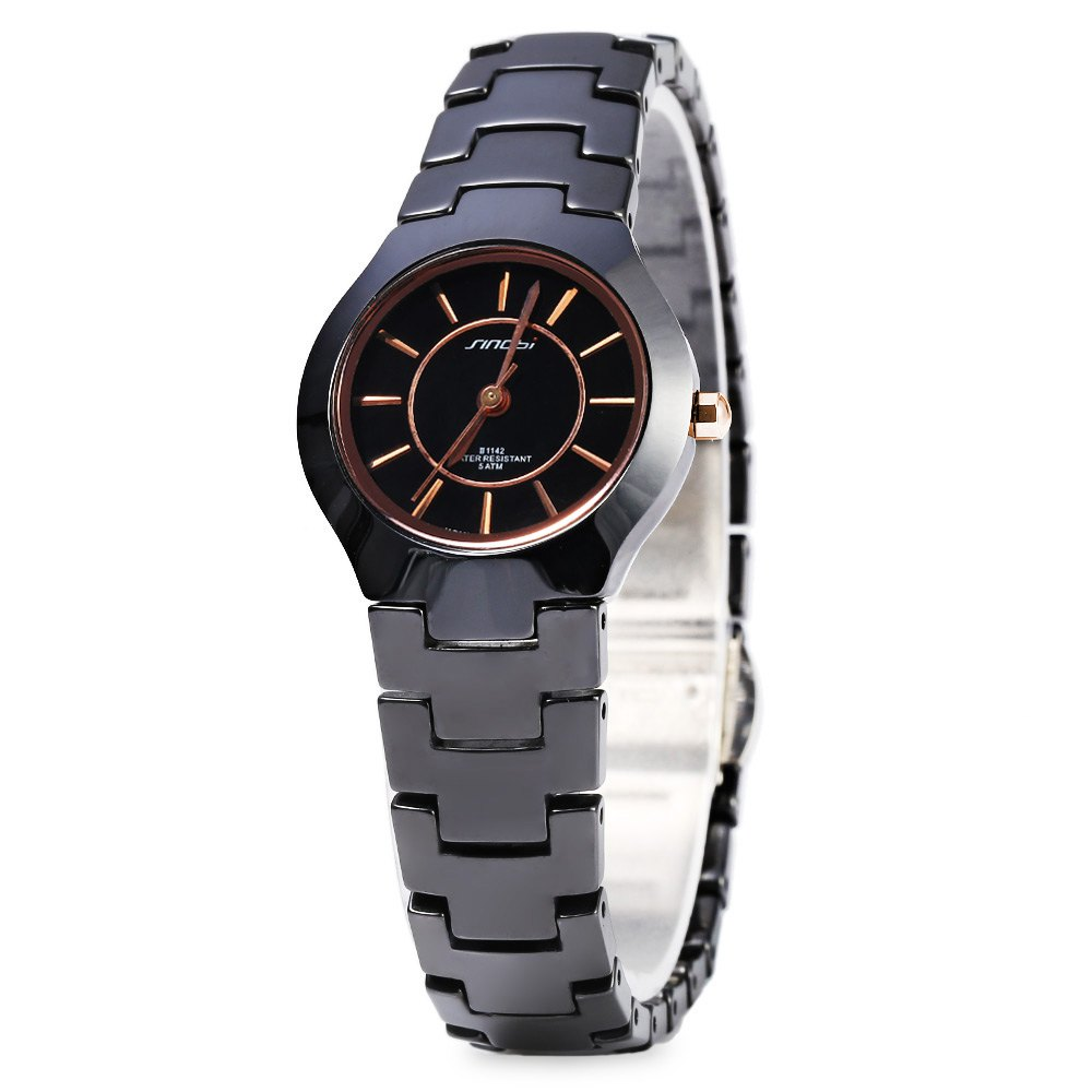 Sinobi 1142 Fashionable Concise Ultra-thin Design Water Resistant Female Quartz Watch Ceramic Strap - BLACK / GOLD