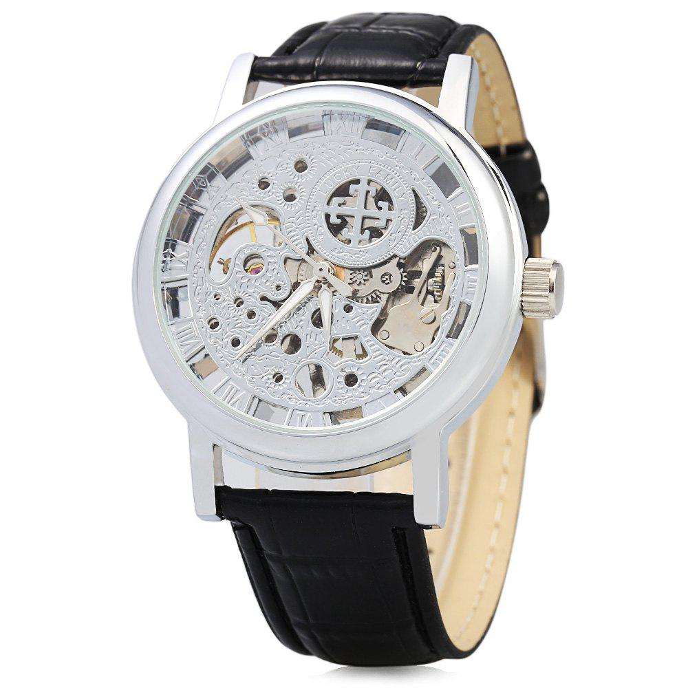 Hollow-out Dial Male Automatic Mechanical Movt Watch Leather Band - SILVER