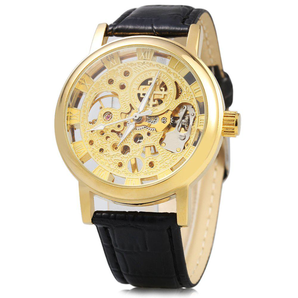 Hollow-out Dial Male Automatic Mechanical Movt Watch Leather Band - GOLDEN