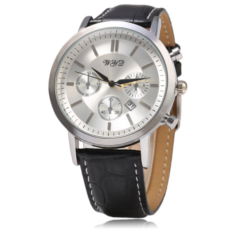 WYQ 89015 Decorative Sub-dial Quartz Watch Date function Leather Strap for Men - SILVER/BLACK