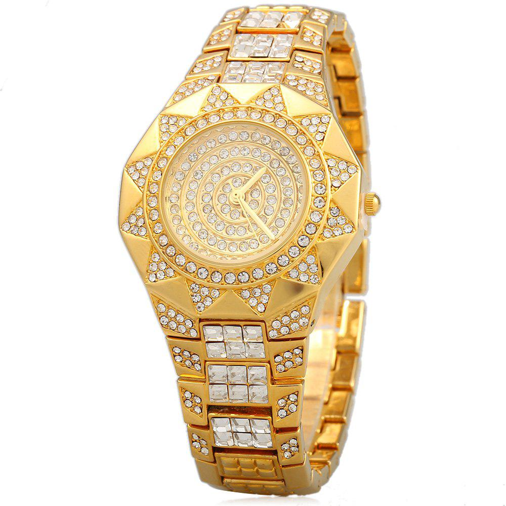 Tivaye Y23 Elegant Diamond Quartz Watch Triangle Decoration Stainless Steel strap for Women - GOLDEN