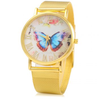 434 Female Quartz Watch with Butterfly Decoration Golden Watch Case