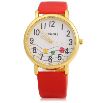 JUBAOLI 1091 Women Quart Watch Flower Decoration Arabic Number Scale Leather Band - RED