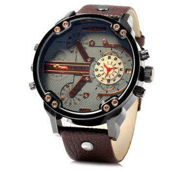 JUBAOLI 1078 Decorative Sub-dial Date Function Male Quartz Watch Genuine Leather Strap