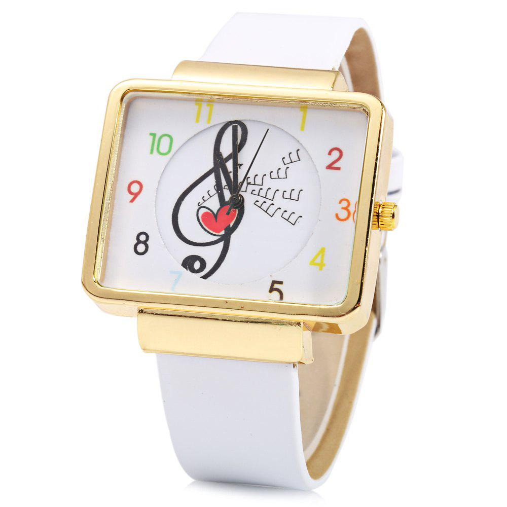 JUBAOLI 1094 Women Quart Watch Note Decoration Arabic Number Scale Leather Band - WHITE/GOLDEN