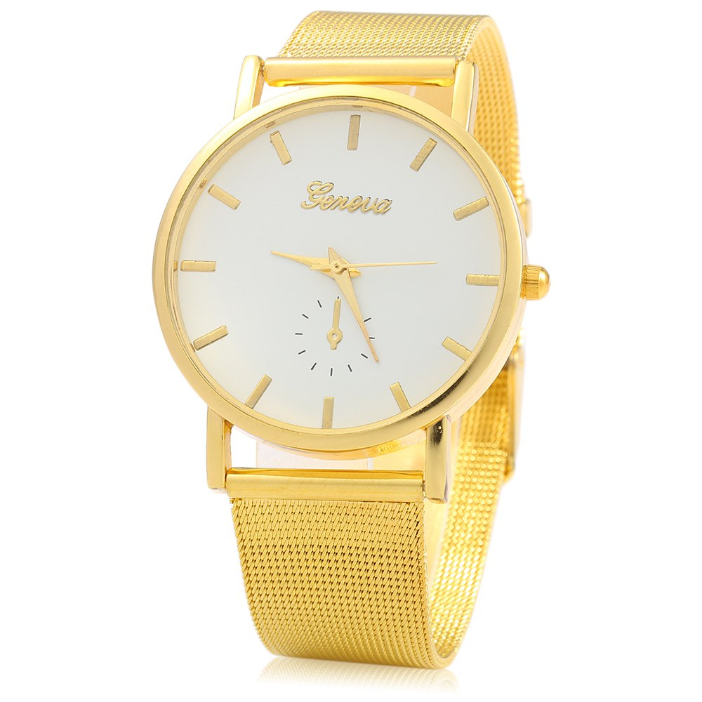 Geneva 433 Female Quartz Watch with Decorative Sub-dial Golden Watch Case - GOLDEN