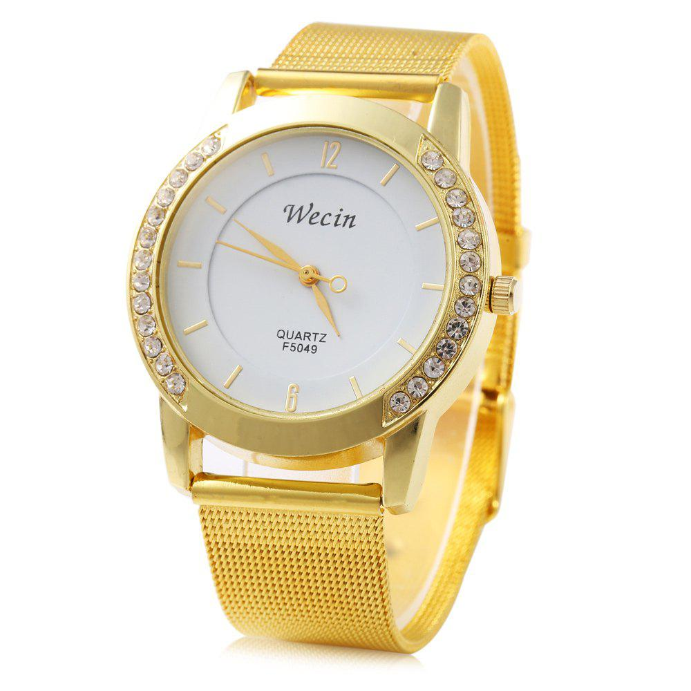 Wecin F5049 Female Quartz Watch with Diamond Decoration Golden Watch Case - GOLDEN