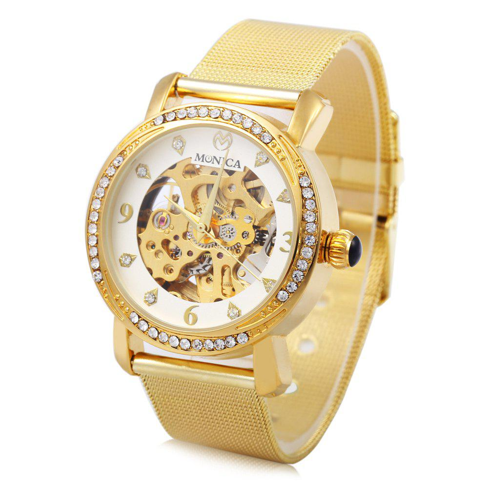 Monica 6851 Hollow-out Ladies Automatic Mechanical Watch Diamond Scale Steel Net Strap - GOLDEN