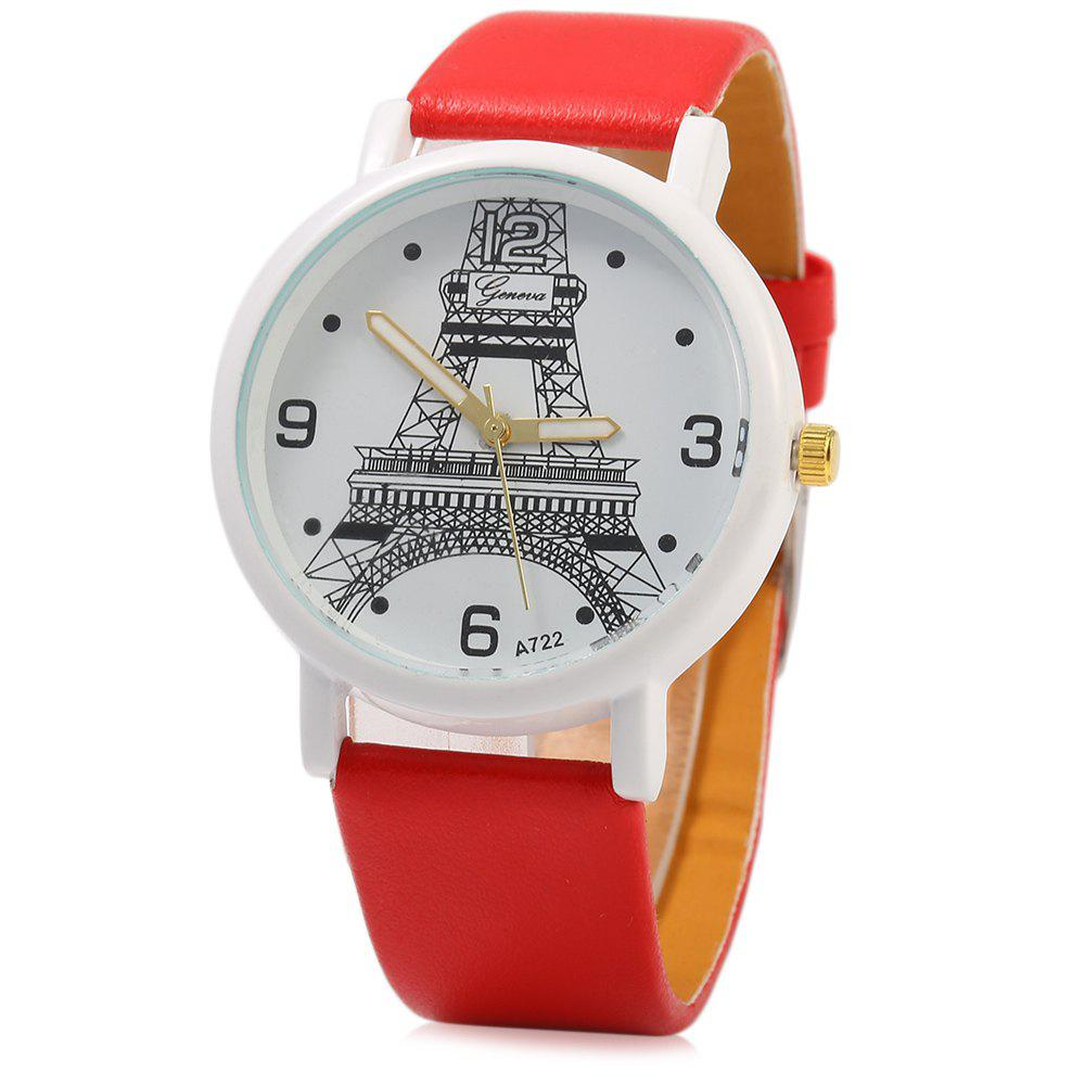Geneva A722 Women Quart Watch Arabic Numerals and Dot Scale Leather Band - RED