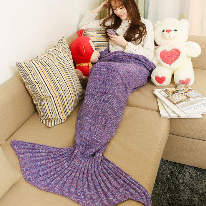 Crocheted / Knitted Mermaid Tail Style Blanket - PURPLE ALL AGES