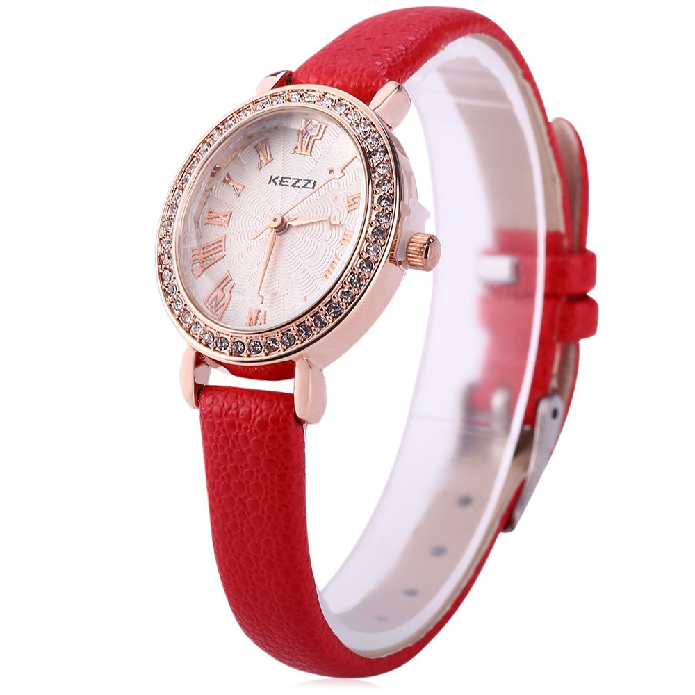 KEZZI K - 873 Women Quartz Watch Artificial Diamond Wristwatch - RED