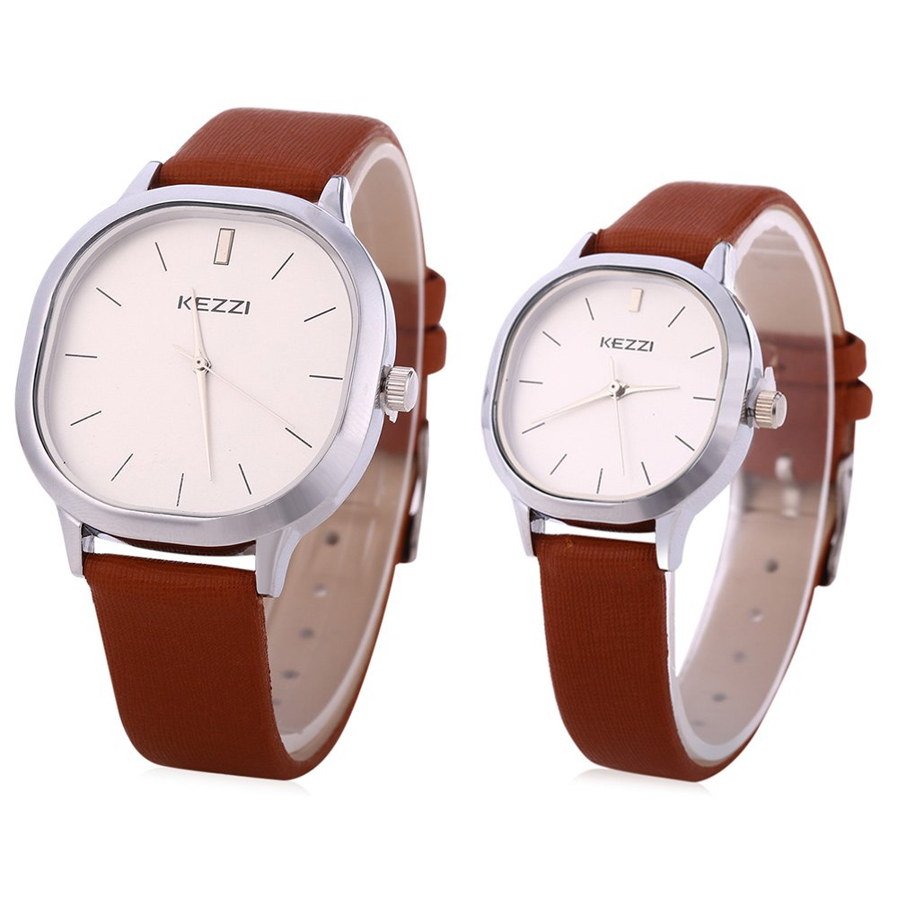 KEZZI K - 1155  Couple Quartz Watch Business Wristwatch - DEEP BROWN
