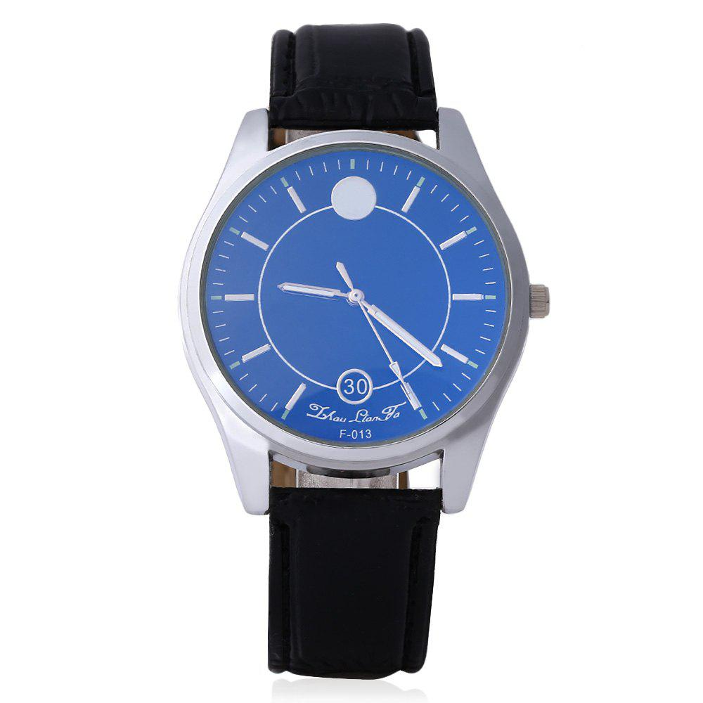 Business Male Quartz Watch Double Scales Leather Band - BLACK