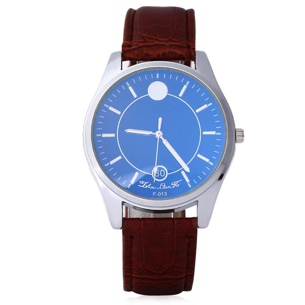 Business Male Quartz Watch Double Scales Leather Band - BROWN