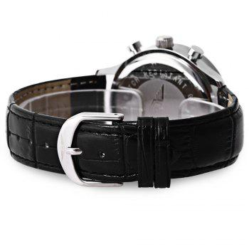 GUANQIN GQ001 Water Resistance Male Japan Luxury Quartz Watch Leather Watchband Working Sub-dials - SILVER/BLACK