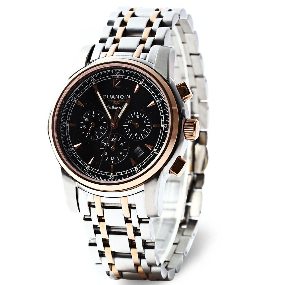 GUANQIN GJ16003 Water Resistance Male Japan Fashionable Automatic Mechanical Watch Stainless Steel Strap Working Sub-dials - BLACK/GOLDEN