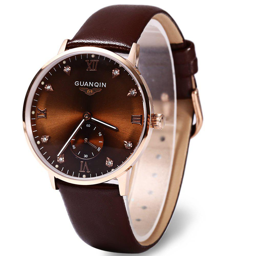 GUANQIN GJ16016 Fashionable Men Mechanical Watch Artificial Diamond Round Dial Leather Watchband -  BROWN/GOLDEN