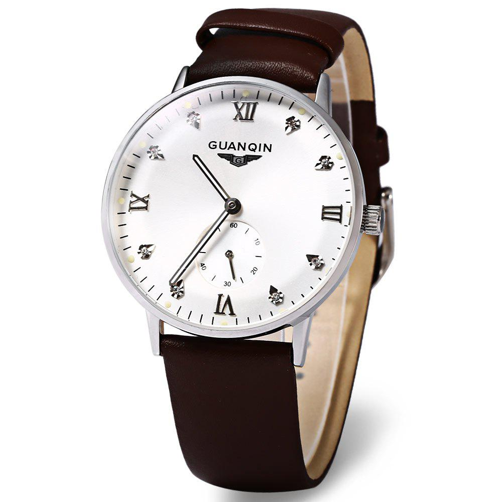 GUANQIN GJ16016 Fashionable Men Mechanical Watch Artificial Diamond Round Dial Leather Watchband - WHITE